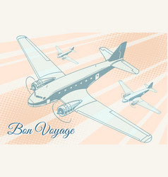 Bon voyage aviation background vector