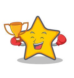 Boxing winner star character cartoon style vector