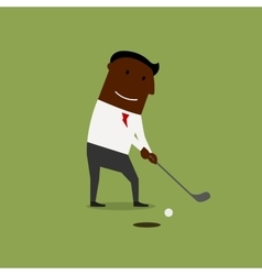 Businessman playing golf at green field vector image