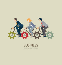 businessman riding bicycle with gears vector image