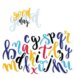 Calligraphic alphabet hand written expresive vector