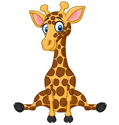 cartoon cute giraffe vector image vector image