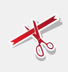 Ceremony ribbon cut sign new year reddish vector