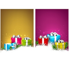 Colorful christmas banners with gift boxes vector image