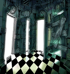 Dark room with many doors vector