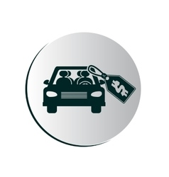 Degrade button with car and price tag vector