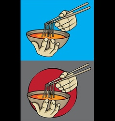 exotic asian spicy noodle soup chopsticks vector image vector image