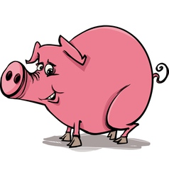 farm pig cartoon vector image vector image