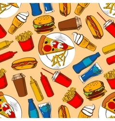 Fast food pattern with snacks and beverages vector
