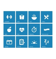 Fitness icons on blue background vector