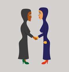 Flat icon on theme arabic business women vector