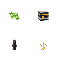 flat icons pitcher ramadan kareem muslim woman vector image vector image