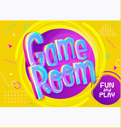 Game room banner in cartoon style bright yellow vector