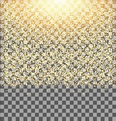 Gold glow glitter sparkles on transparent vector