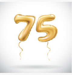 Golden number 75 seventy five metallic balloon vector