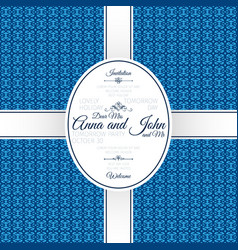 invitation card with blue geometric pattern vector image