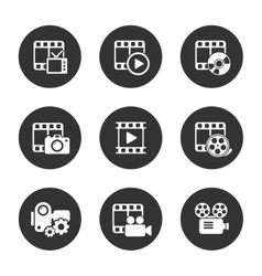 Media icon pack on black background vector image vector image