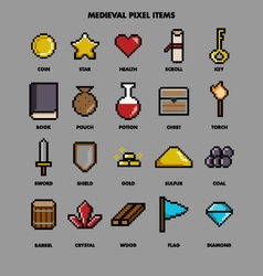 medieval pixel items vector image vector image