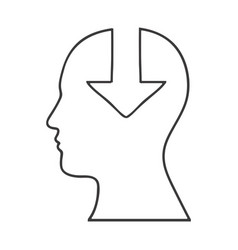Monochrome silhouette of human head with download vector