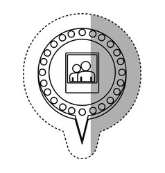 Monochrome sticker with photograph and circular vector