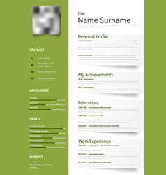 professional green white resume cv with design vector image vector image