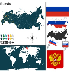 Russia map world vector image vector image