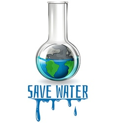 Save water theme with earth in flask vector