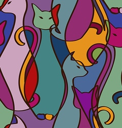 Seamless pattern of colorful African cats vector image