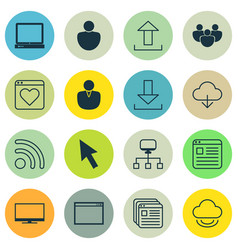 set of 16 world wide web icons includes local vector image vector image
