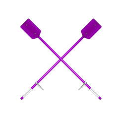 two crossed old oars in purple design vector image vector image