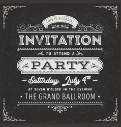 vintage party invitation card on chalkboard vector image vector image