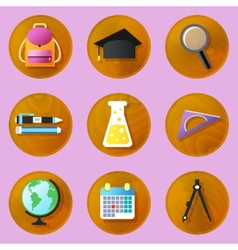 Wooden education icons vector image vector image