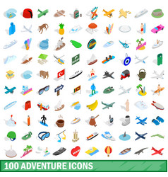 100 adventure icons set isometric 3d style vector image vector image