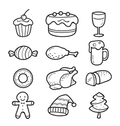 Food and drink outline icons set for christmas day vector