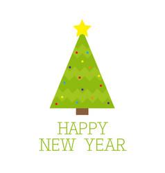 Fir christmas tree with star top tip light ball vector