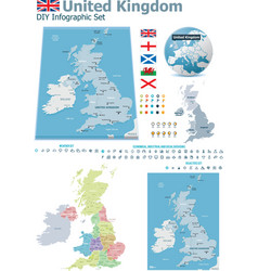 United kingdom maps with markers vector