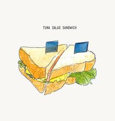 Tuna salad sandwich sketch vector