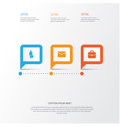 Trade icons set collection of work man envelope vector