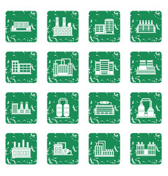 Industrial building icons set grunge vector