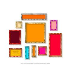 Set of gold frames cinema vector