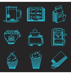 Menu for breakfast line icons vector