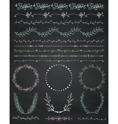 Chalk drawing seamless borders frames dividers vector