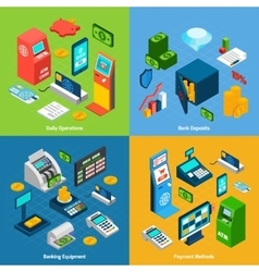 Isometric banking set vector