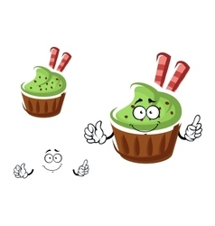 Cupcake character with cream and waffle rolls vector