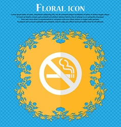 No smoking floral flat design on a blue abstract vector
