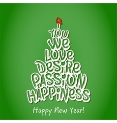 Happy new year happiness greeting card green vector