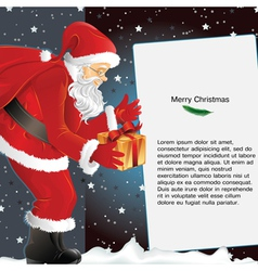 Christmas background with santa holding gift vector
