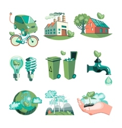 Ecology decorative icons set vector