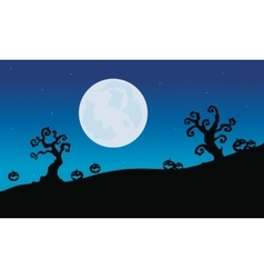 Pumpkins and dry tree halloween silhouette vector
