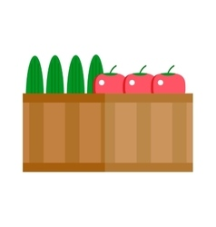 Boxes vegetables shipping container vector image